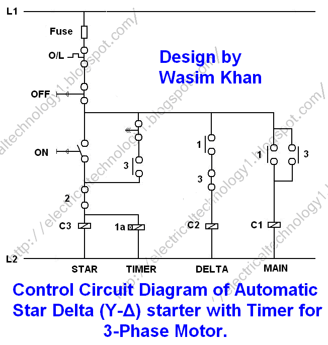 Star Delta starter with Control Diagram